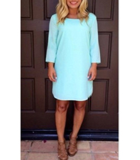 Elliptical Mini Dress – Aqua / Decorative Detail / Single Horizontal Spaghetti Strap