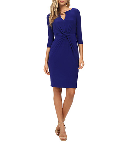 Knee Length Dress – Cobalt Blue / Knotted Waistline