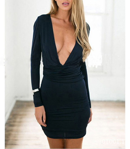 Mini Bodycon Dress – Plunging Vee Neckline / Dark Blue / Long Sleeves