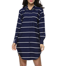 Mini Shirt Dress – Navy with White Stripes / Long Sleeves / Polo Collar