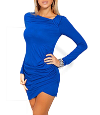 Wrap-Style Bodycon Dress – Blue / Long Sleeves / Asymmetrical Hemline
