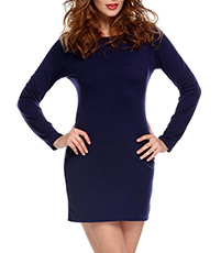 Simple Mini Dress – Royal Blue / Long Sleeves / Rounded Neckline