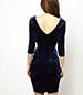 Crushed Velvet Bodycon Dress – Midnight Blue / Three Quarter Length Sleeves