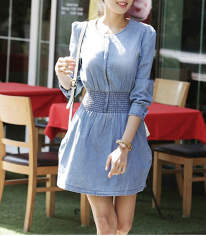 Denim Mini Dress – Distressed Medium Blue / Elasticized Waistline