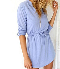 Casual Mini Dress – Powder Blue / Drawstring Waistline