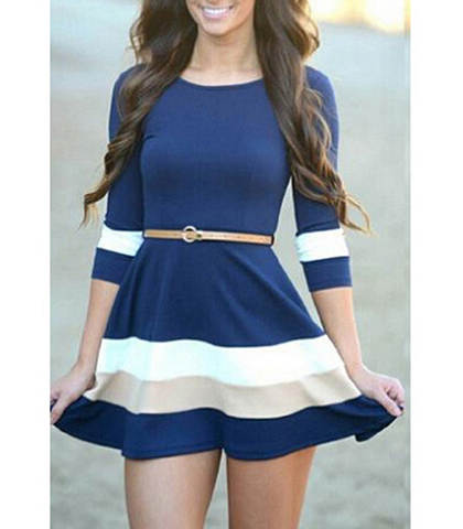 Mini Dress – White Blue Taupe / Flared Skirt / Narrow Tan Belt