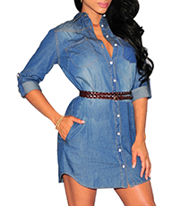 Denim Mini Dress – Distressed Blue Denim / Button Front