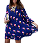 Swing Dress – Blue and Pink Ice Cream Print / Round Neckline