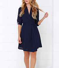 Knee Length Chiffon Dress – Three Quarter Length Sleeves / Navy Blue