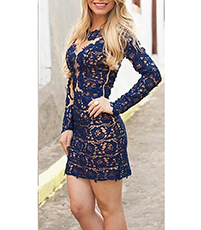 Short Long Sleeve Dress – Openwork Lace Design / Navy Blue