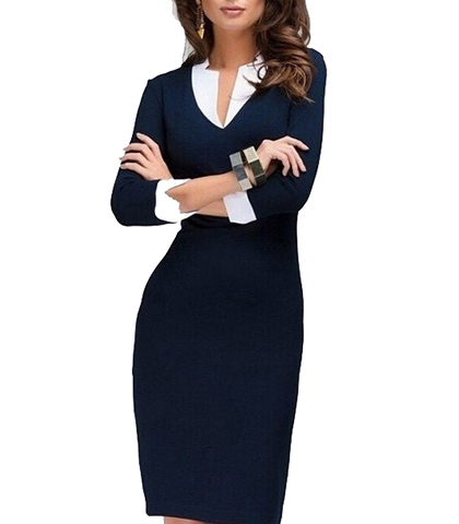 Knee Length Dress Professional Wear Pencil Skirt Modest V Neckline Royal Blue
