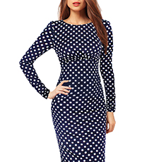 Polka Dot Dress – Long Sleeves / Empire Waist / Pencil Skirt