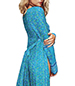 Long Dress – Blue Floral Patterned / Long Sleeves / Flirty Accents