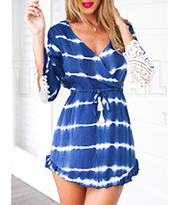 Blue Casual Dress – White Lace Cutouts Sleeves / Long Sleeved