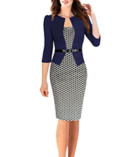 Fitted Dress with Jacket – Navy and White / Narrow Belt