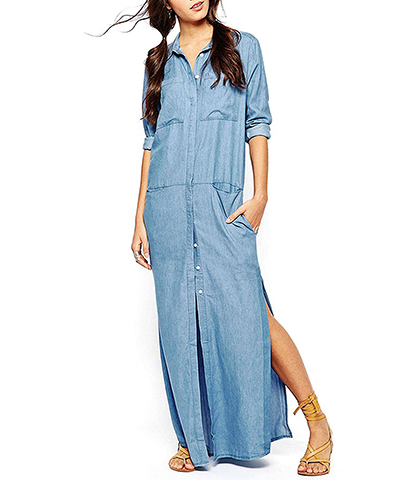 Long Sleeve Denim Maxi Dress – Faded Blue / Button Front