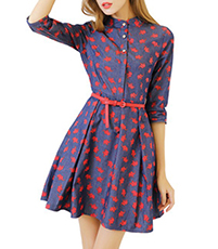 Mini Skater Dress – Standup Collar / Blue with Coral / Belted Waistline