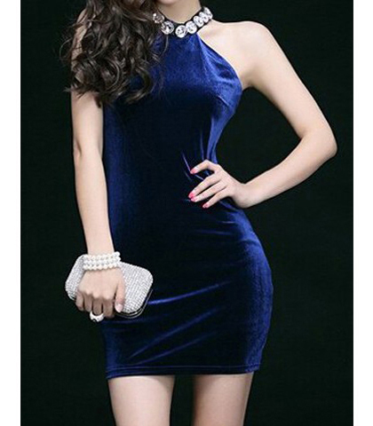 Formal Short Dress – Embellished Halter Neckline / Bodycon Style