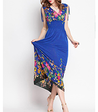 Royal Blue Maxi Dress – Adjustable Shoulder Straps / Floral Print