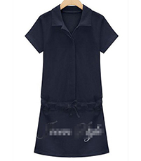 Shirt Dress – Placket With Hidden Buttons / Tie Accent on Hips / Royal Blue