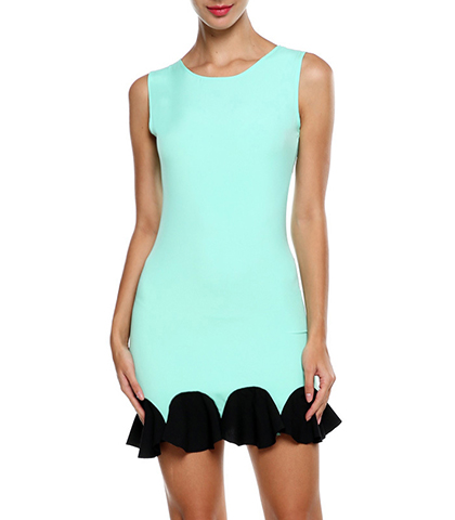 Sleeveless Dress – Flounced Hemline / Round Neckline / Zippered Closure / Skye Blue Black