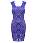 Blue Sleeveless Lace Dress – Lined / Square Neckline / Trim Fit / Zippered Closure
