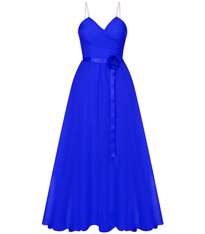 Blue Evening Gown – Thin Straps / Crossover Bodice / Satin Waistband Accent
