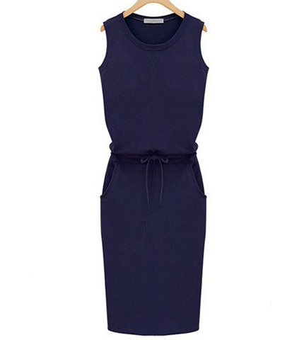 Basic Sleeveless Slim Line Dress – Royal Blue / Tie Belt / Knee Length