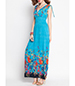 Flowery Trimmed Sundress – Tie shoulder Straps / Light Blue / Bohemia Style
