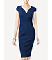 Summer Sheath Dress – Knee Length / Royal Blue / Deep Taj Neckline