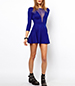 Sheer Neckline Blue Skater Dress – Three Quarter Sleeves / Backless / Mesh V-Neck