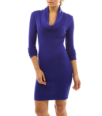 Knee Length Blue Dress – Large Cowl Neck / Long Sleeves / Slim Fitting