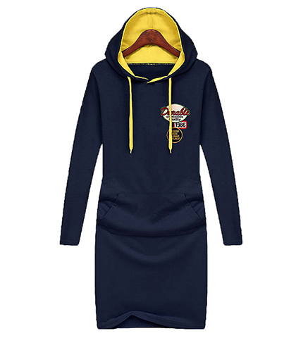 Cozy Fleece Hoodie Dress – Navy Blue