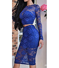 Stretch Lace Two Piece Dress – Knee Length / Blue