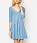 Angelic A Line Dress – Pleated / Sky Blue / Wide V Front