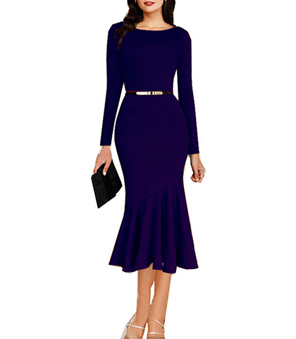 Jazz Jewel Tones Trumpet Dress – Royal Blue / Midi Length