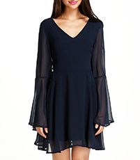 Dark Angel Chiffon Dress – Dark Blue / Long Flared Sleeves