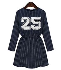 Collegiate Striped Dress – Long Sleeves / Blouson Top / Wide Hemline / Fit and Flare Style / Blue