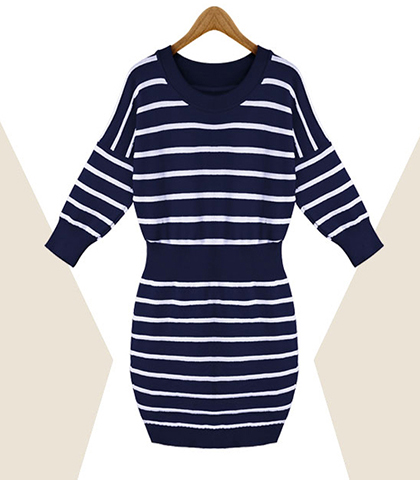 Sweater Dress – Wide Banded Waist / Horizontal Stripes / Ribbed Cuffs / Royal Blue
