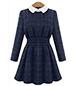 Fit and Flare Dress – Doll Collar / Plaid / Narrow Waist with Pleats / Royal Blue