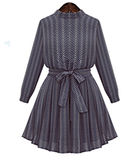 Fit and Flare Pleated Dress – Dark Blue / Long Sleeves / Herringbone Pattern / Tied Waistband