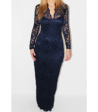 Evening Gown – V-Neck / Blue Lace Overlay / Lace Bodice Sleeves Back