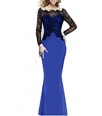 Long Lace Sleeves Maxi Dress – Black Blue / Open Scalloped Neckline / Raised Lacy Waist