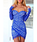 Off The Shoulder Wrap Lace Dress – Blue / Long Sleeves / Sweetheart Bodice
