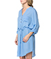 Sky Blue Shirt Dress – Curved Man's Shirt Style Hemline / Drawstring Feature