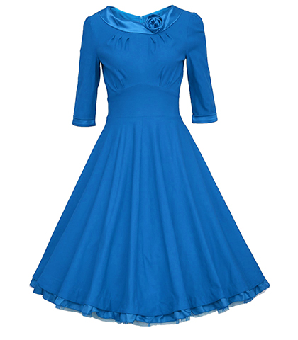 A Line Vintage Dress – Elbow Length Sleeves / Blue / Satin Rose Decoration / Wide Waist