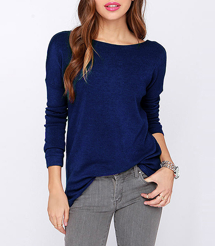 Backless Shirt – Long Sleeves / Midnight Blue / Wide Neckline / Drop Sleeves