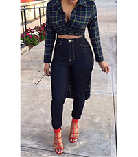 Womens Hi-Low Top – Blue and Green Plaid / Exposed Midriff
