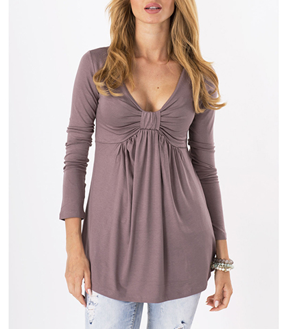 Soft Knit Blouse – Taupe / Knotted Detail / Decorative Knotted Detail