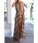 Ankle Length Maxi Dress – Halter Style / Long Slit / Continuous Pattern / Sleeveless